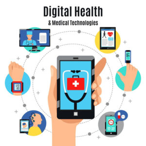 Graphic showing the different elements that make-up Digital Health